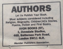 """Avon Books ad to authors in Sunday Times: """"Let us publish your book"""". No mention of fee"""