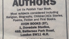 "Avon Books ad to authors in Sunday Times: ""Let us publish your book"". No mention of fee"