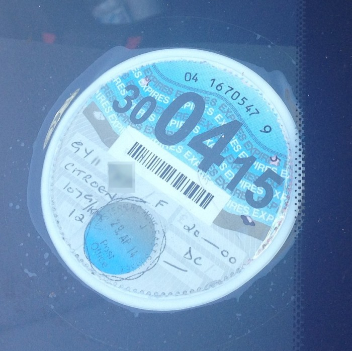 Car tax disc on windsceen