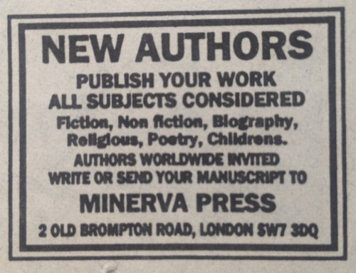 Ad for Minerva Press in the Sunday Times