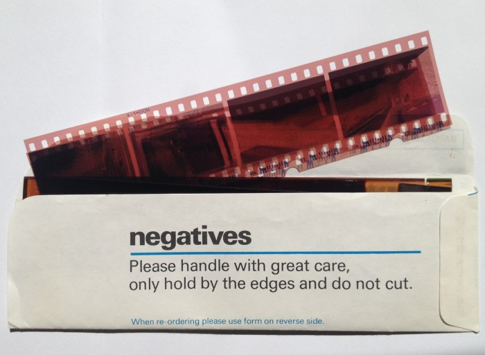 Photographic negatives in a folder