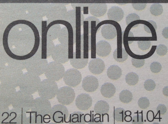 "The ""online"" heading for a newspaper section"