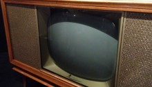 Large, old, cathode-ray TV screen